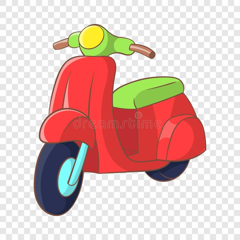 Red scooter icon, cartoon style. Red scooter icon in cartoon style on a background for any web design stock illustration