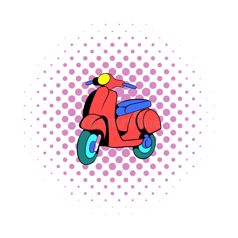 Red scooter icon, comics style stock illustration