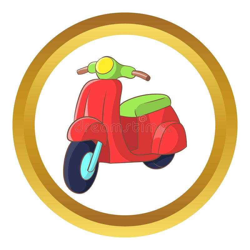 Red scooter icon. In golden circle, cartoon style isolated on white background vector illustration