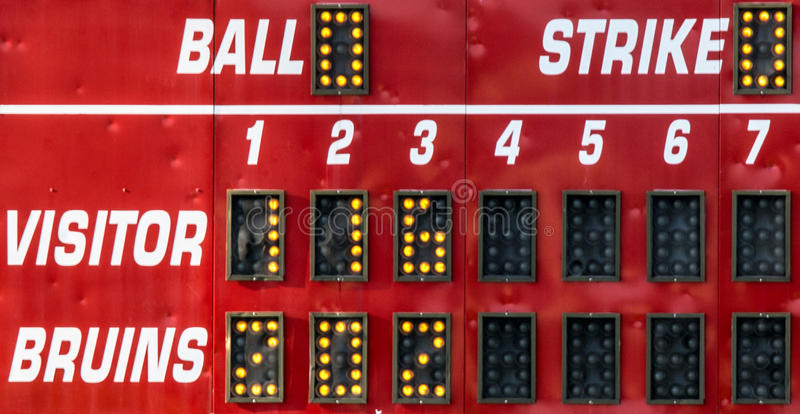 A red score board at a softball game stock photography