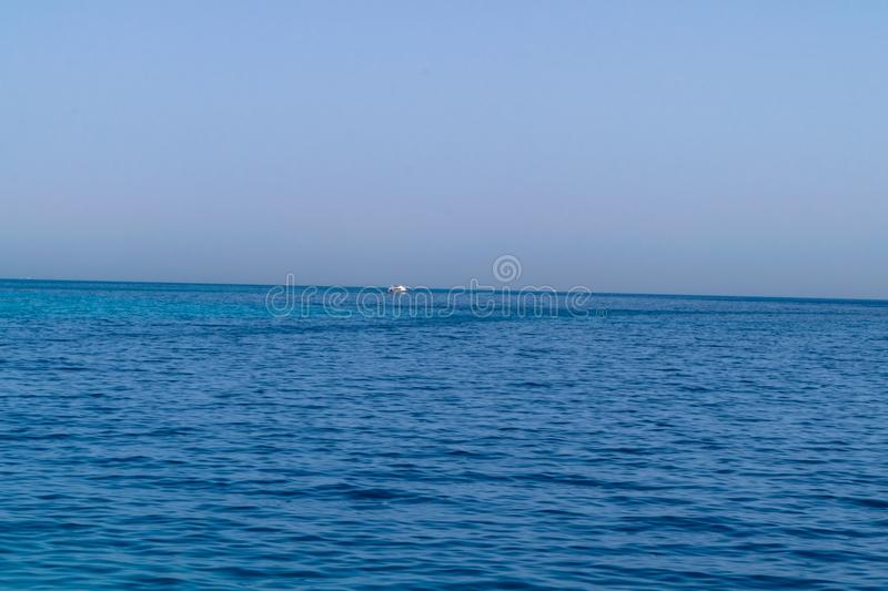 Blue water of the Red Sea Egypt and deserted shore stock photo