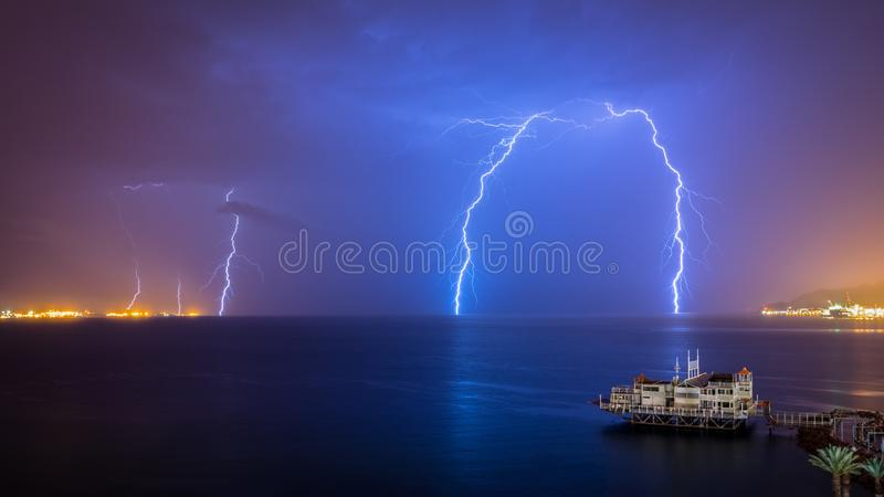 Red Sea Lighting Storm - Eilat Israel. Dramatic lighting storm over the Red Sea Near Eilat Israel stock images