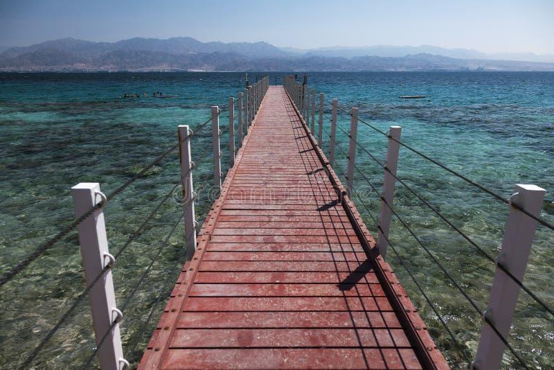 Red sea pier. Eilat, Israel. Wiew from sea pier, Red sea. Eilat, Israel stock image