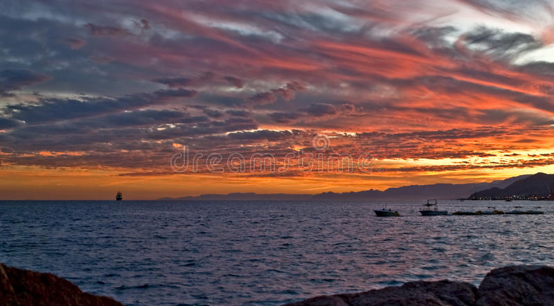 Red Sea, sunset royalty free stock photos