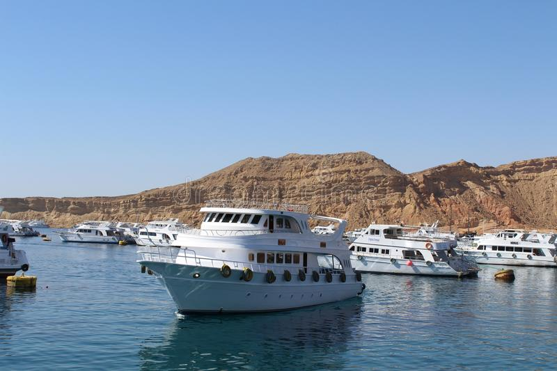 Red Sea, yachts and boats stock photo