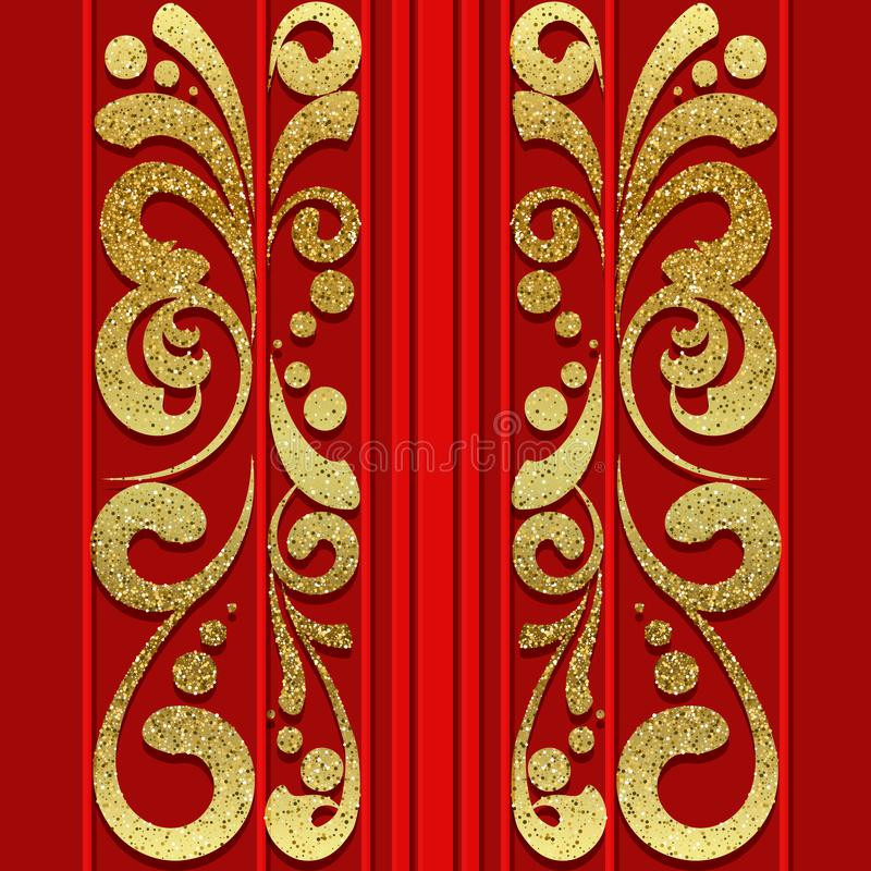 Red seamless pattern with golden vertical ornament stock illustration
