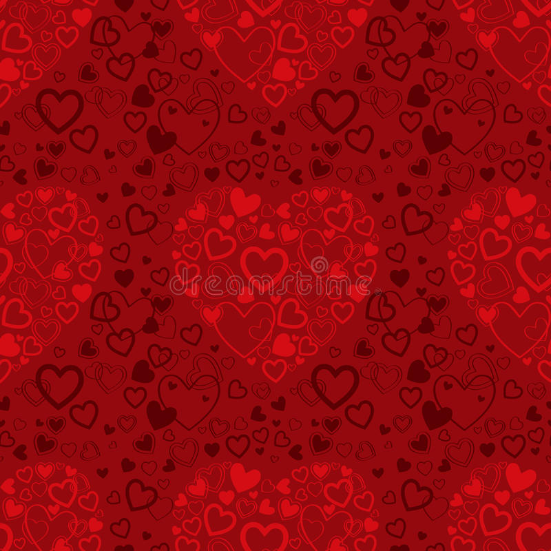 Red seamless pattern with hearts