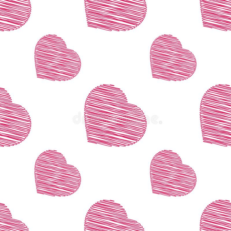 Red seamless pattern of hearts on a white background. Simple flat vector illustration. For the design of paper wallpaper, fabric,. Wrapping paper, covers, web stock illustration