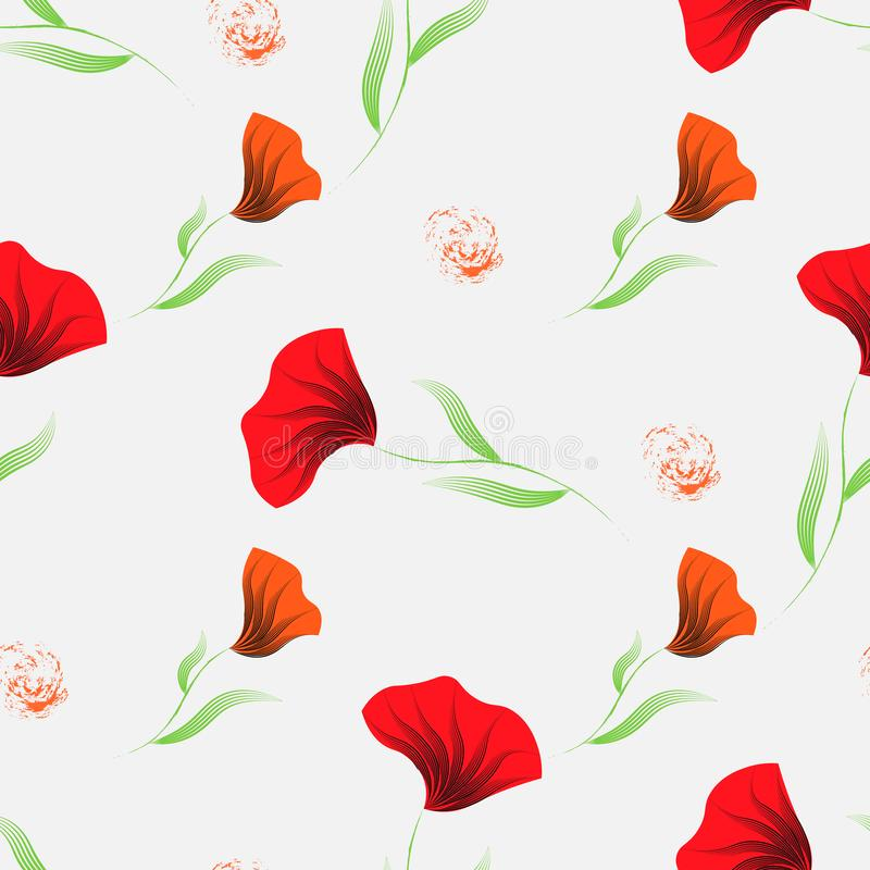 Red Seamless pattern with poppy. Floral background wallpaper. Flower ornament good for web, print and wrapping paper. 10 eps stock photo