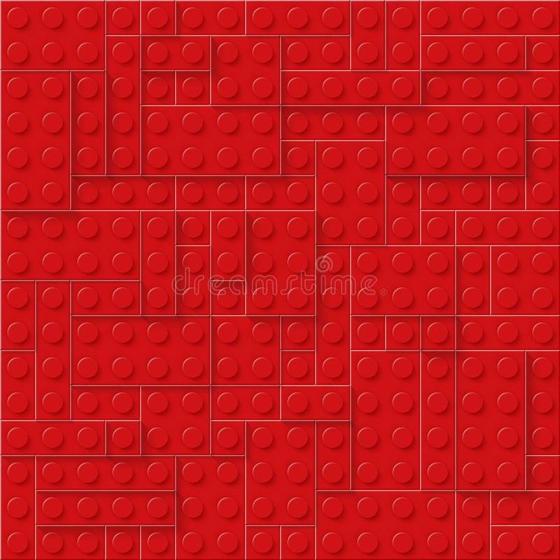 Red seamless plastic construction plate. Perfect closeup gloss plastic block. EPS 10. Vector file included stock illustration