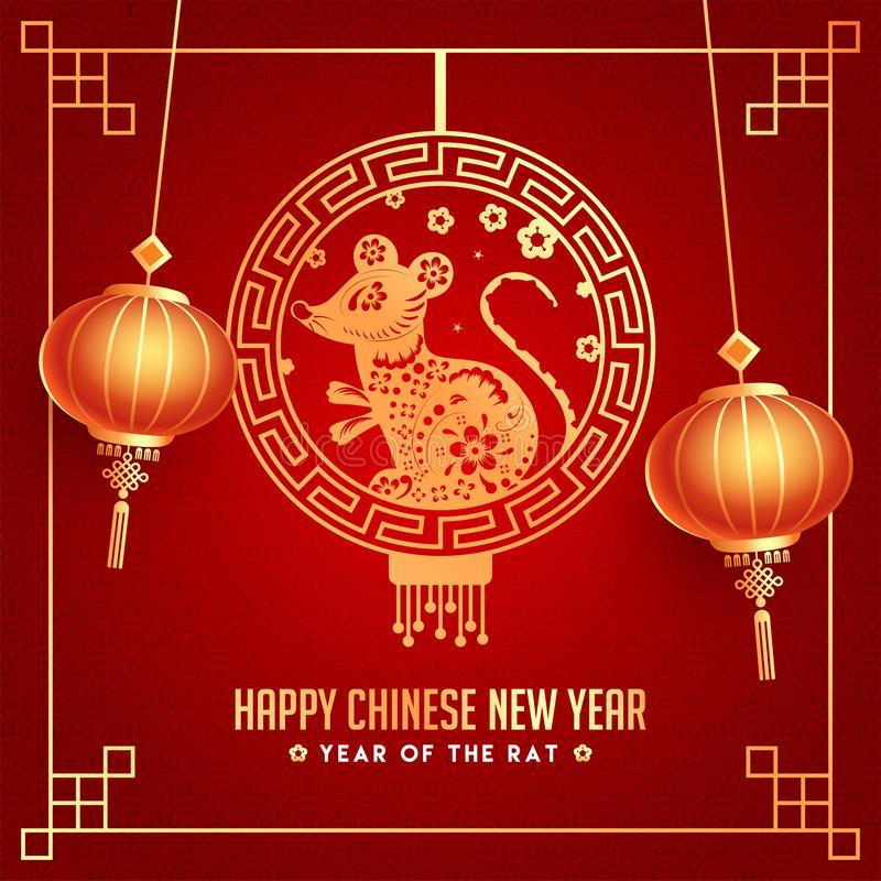 Red Seamless Squama Pattern Background Decorated with hanging Golden Rat Zodiac Sign and Lanterns for Year Of The Rat, Happy stock illustration