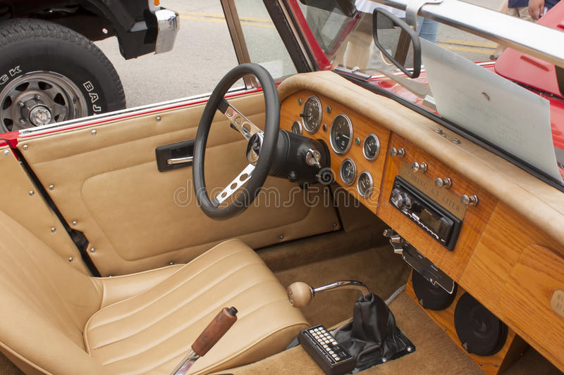 1988 Red Sebring Roadster Car Interior View. WINNECONNE, WI - JUNE 1: Interior of 1988 Red Sebring Roadster Car at Annual Car Show on Main Street June 1, 2013 in stock photo