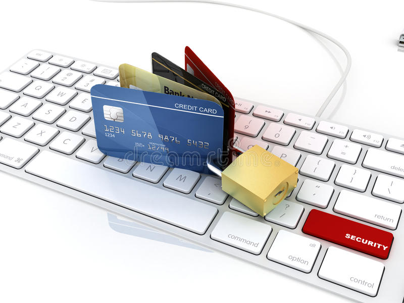 Red security button on keyboard with credit card. And padlock stock illustration