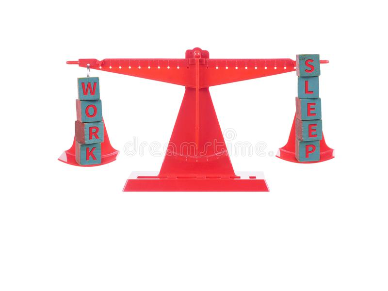 Red seesaw with two balanced concept of wooden cubes stock photos