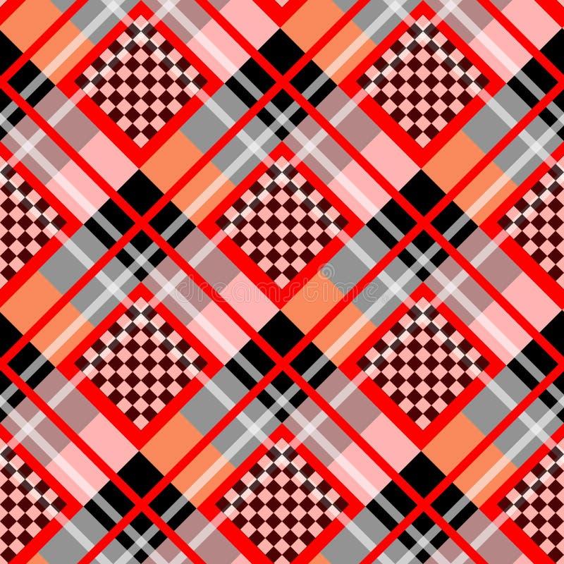 Red Serenity White Diamond tartan with Chessboard Background Vector Illustration. Eps10 royalty free illustration