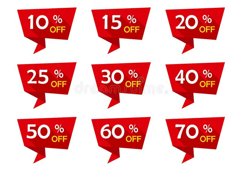 Red set of advertising tag ribbons with discount offers. Sale badges. Vector illustration vector illustration