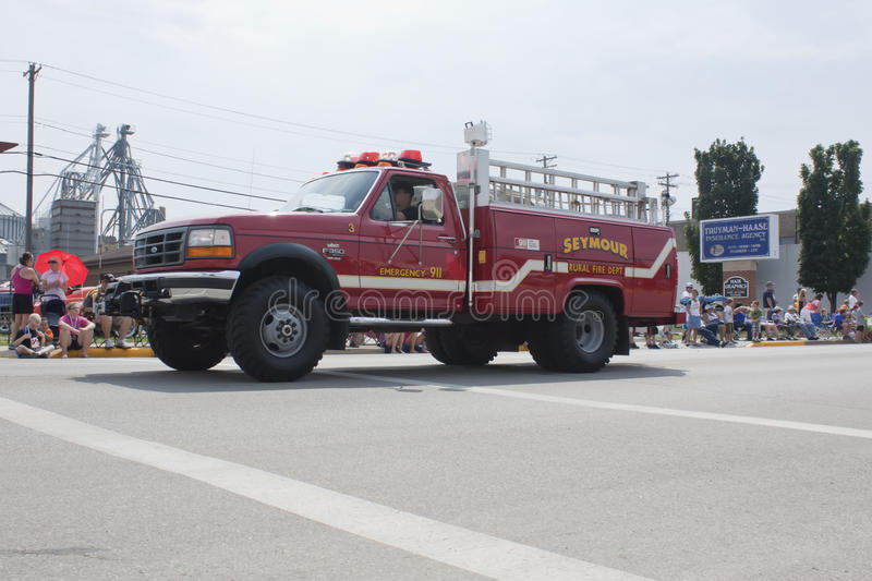 Red Seymour Rural Fire Emergency 911 Department Truck royalty free stock photos