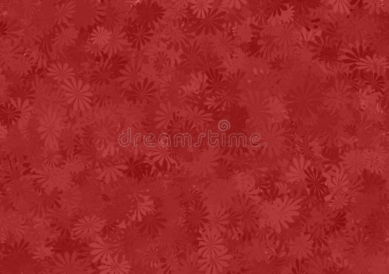 Red shade floral pattern layered wallpaper. For use as background image with design royalty free illustration