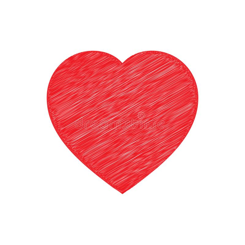 Red shaded heart. Vector isolated image. stock image