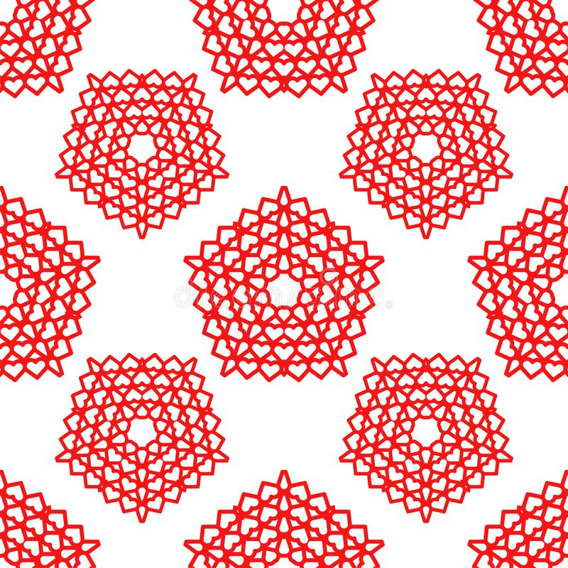 Red shape stars with hearts endless texture royalty free illustration