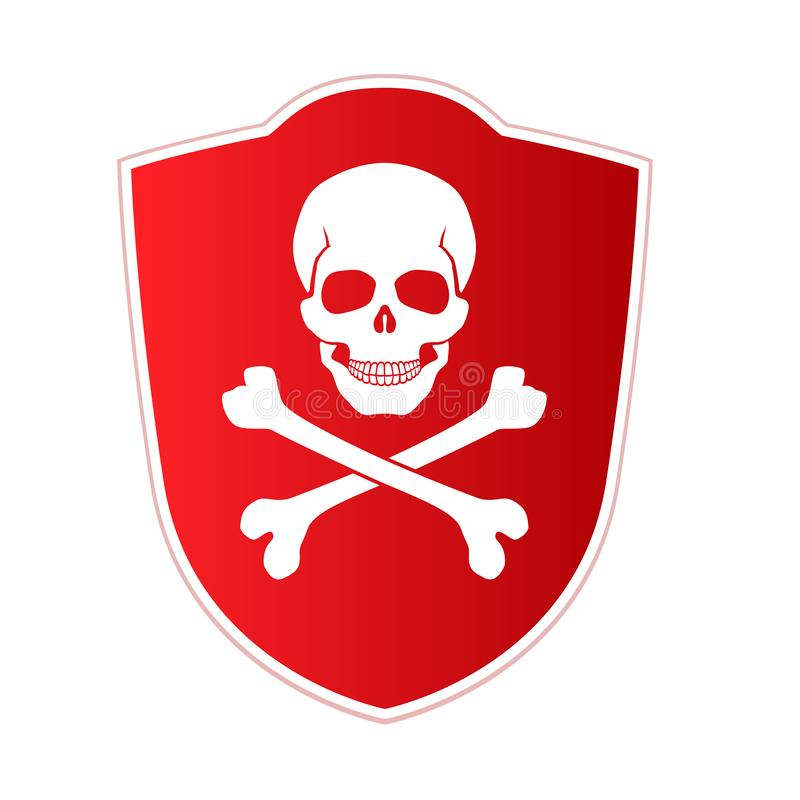 Red shield with emblem of death and danger. Skull and crossed bones on red background. Vector icon, illustration. Isolated on white stock illustration