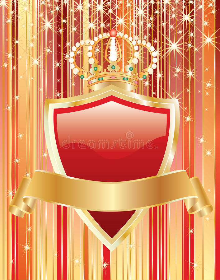 Red shield and golden tape vector illustration