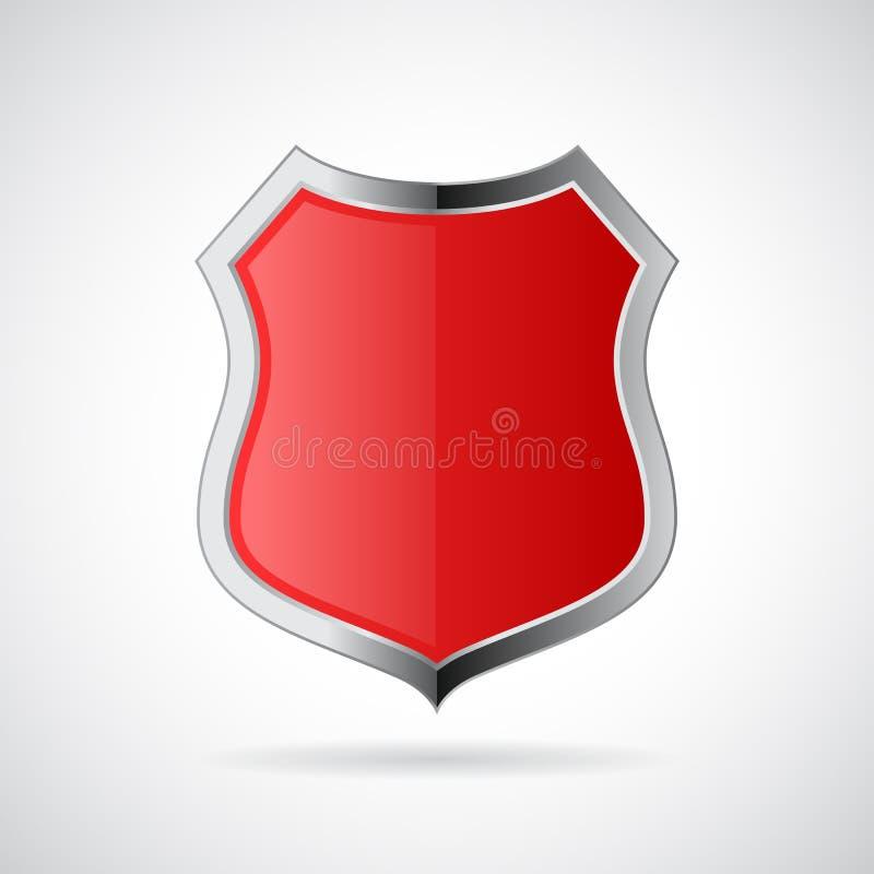 Red shield icon stock illustration