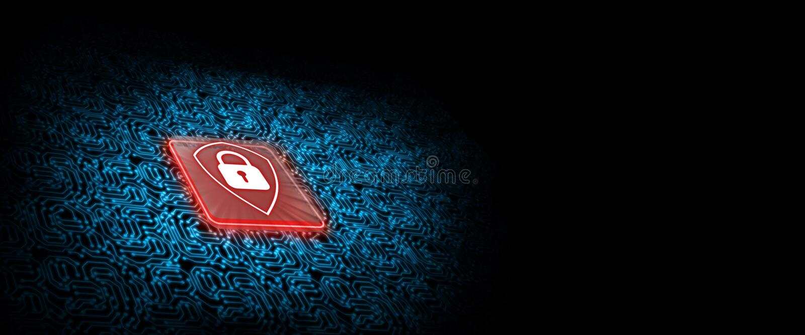 Red shield logo on microchip with glow circuit board background. Concept of business security. vector illustration