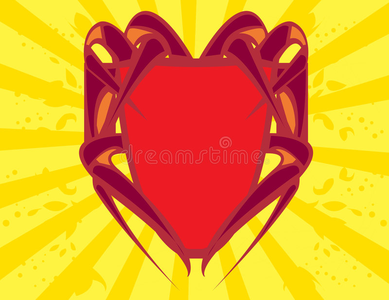 Red shield on yellow backgroun royalty free illustration