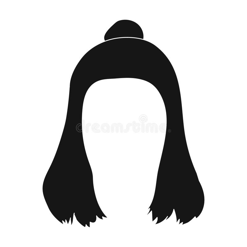 Red with a shingle.Back hairstyle single icon in black style vector symbol stock illustration web. Red with a shingle.Back hairstyle single icon in black style vector illustration