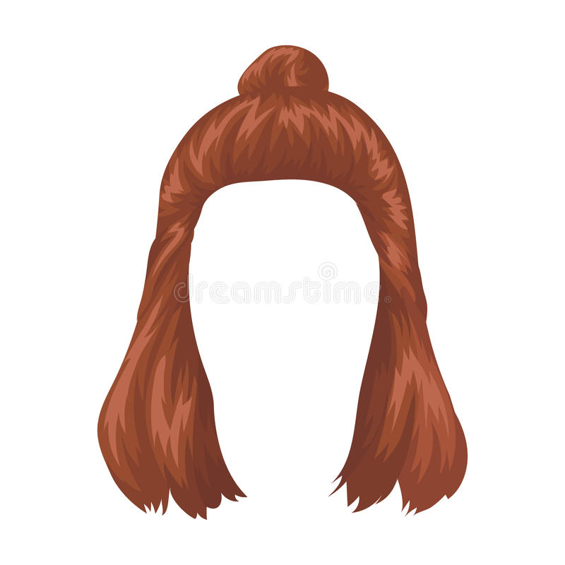 Red with a shingle.Back hairstyle single icon in cartoon style vector symbol stock illustration web. Red with a shingle.Back hairstyle single icon in cartoon stock illustration