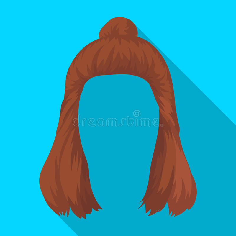 Red with a shingle.Back hairstyle single icon in flat style vector symbol stock illustration web. Red with a shingle.Back hairstyle single icon in flat style royalty free illustration