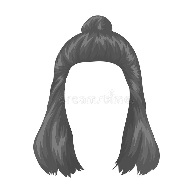 Red with a shingle.Back hairstyle single icon in monochrome style vector symbol stock illustration web. Red with a shingle.Back hairstyle single icon in royalty free illustration