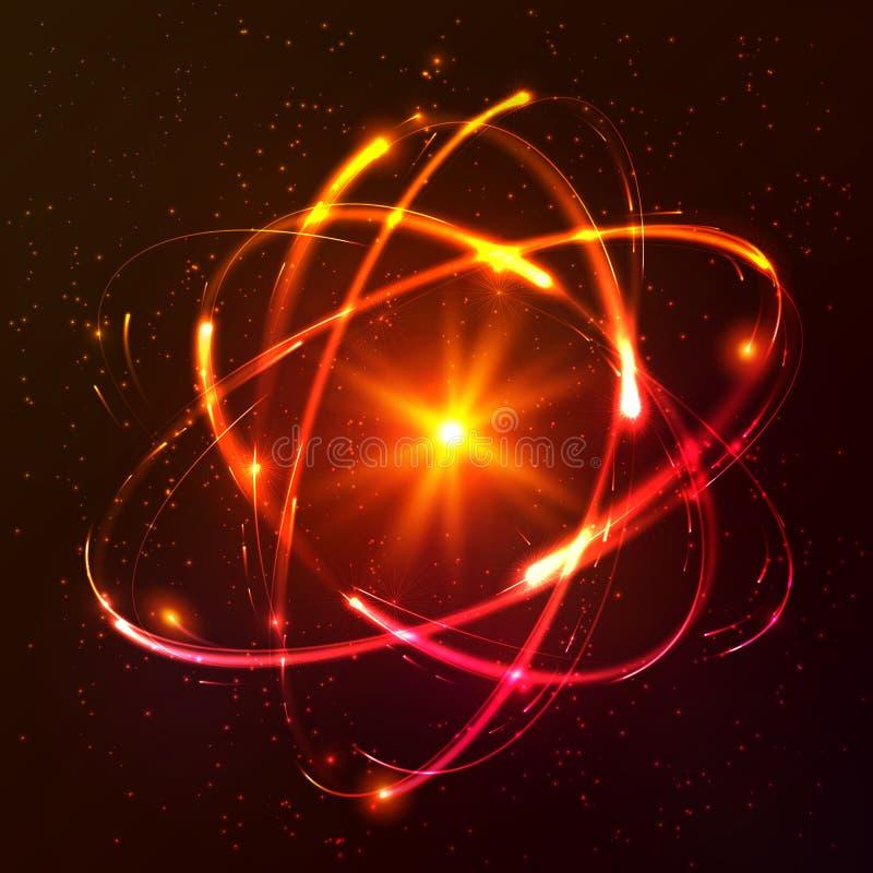 Red shining cosmic vector atom model. Red shining lights cosmic vector atom model stock illustration
