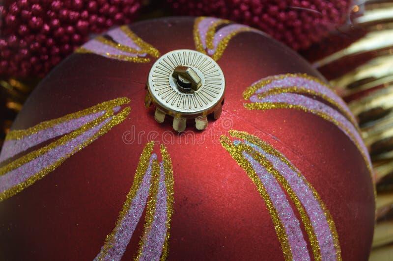 red shiny christmas decorative globe stock images