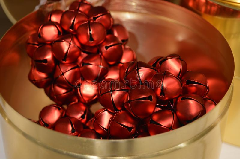 Red shiny christmas  jingle bell globes royalty free stock images