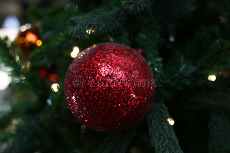 A red shiny Christmas toy on the background of fur-tree elements stock image