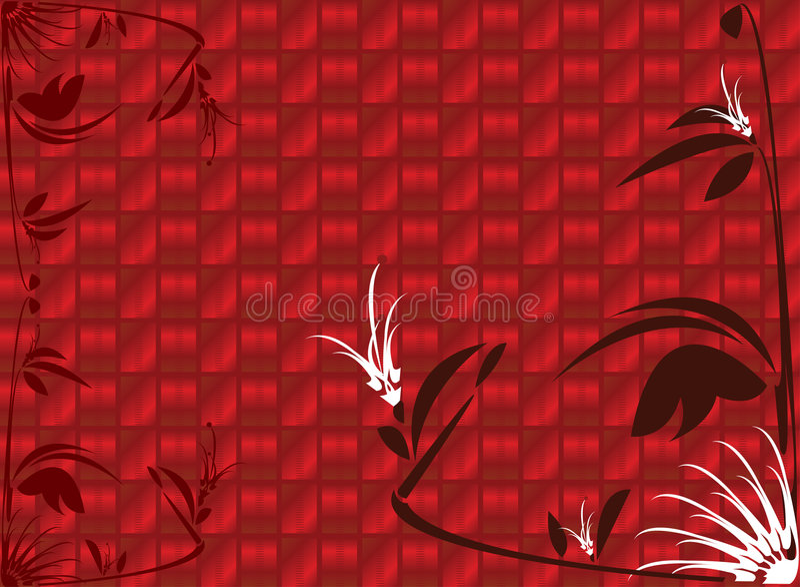 Red shiny floral background vector illustration