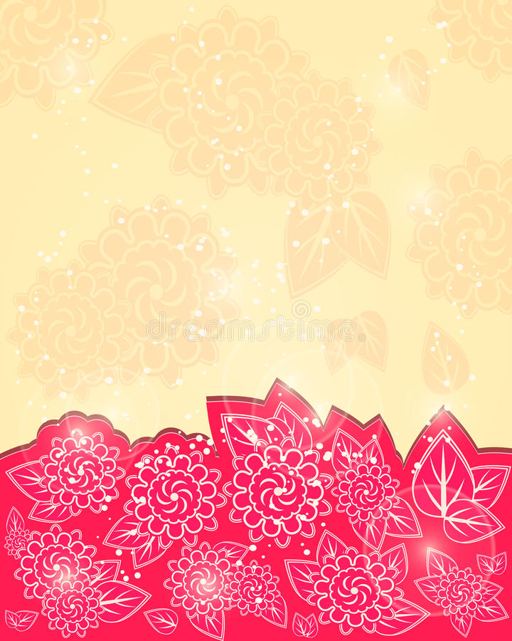 Red Shiny Floral Greeting Card stock illustration