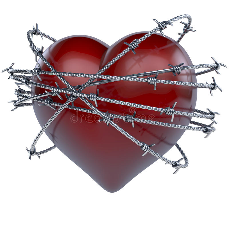 Red shiny heart crowned, wrapped, surrounded by circles of barb wire. 3d rendering on white background vector illustration