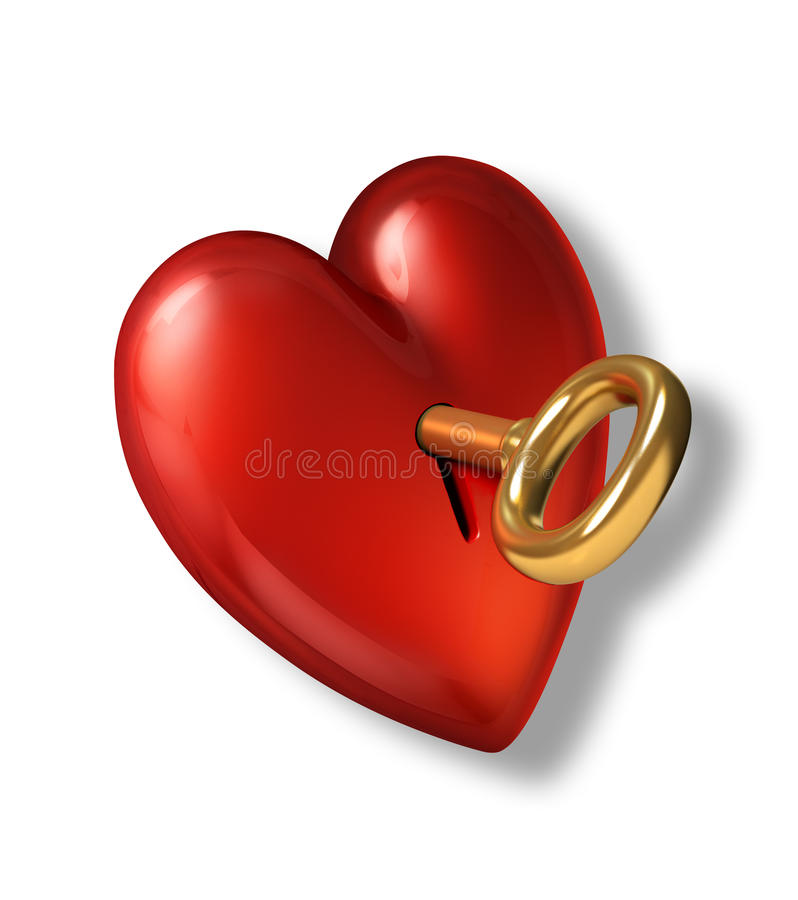 Red shiny heart with keyhole and golden key. stock illustration