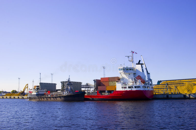 Red Ship in port royalty free stock images