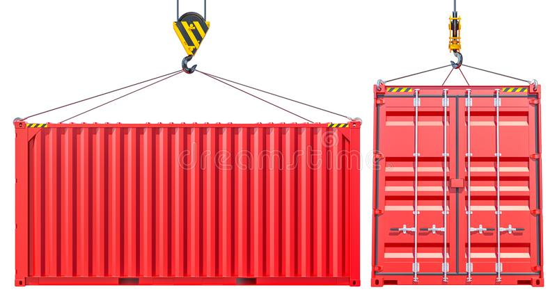 Red Shipping Cargo Container With Hook. Transportation Concept. Isolated on White Background. 3d Illustration royalty free illustration