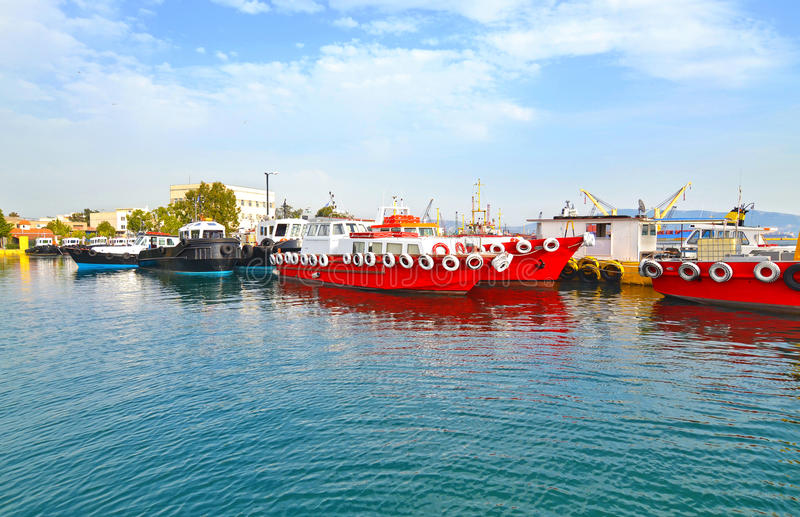 Red ships at Eleusis port Greece stock photography