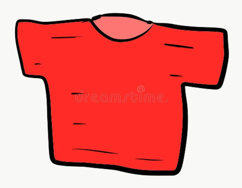 Unevenly imperfect red shirt for your sloppy, lazy, unparallel imagination. Red shirt meant to look the way it is. No question and doubt that it is uneven stock illustration