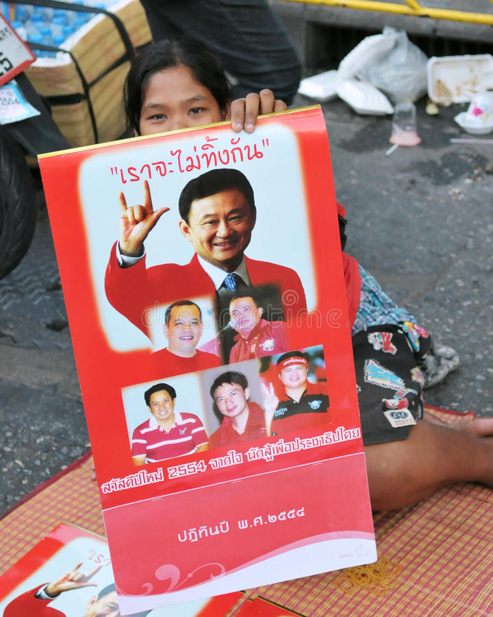 Download Red-Shirt Protester In Bangkok Editorial Image - Image: 17575175