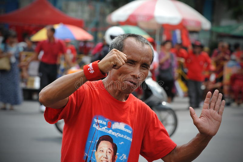 Download Red Shirt Rally in Bangkok editorial stock image. Image of dancing - 30342129