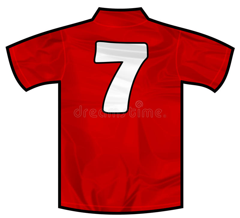 Red shirt seven. Number 7 seven red sport shirt as a soccer,hockey,basket,rugby, baseball, volley or football team t-shirt. Like Spain or England or Russia stock images