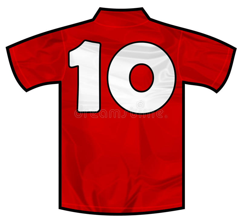 Red shirt ten. Number 10 ten red sport shirt as a soccer,hockey,basket,rugby, baseball, volley or football team t-shirt. Like Spain or England or Russia national stock illustration