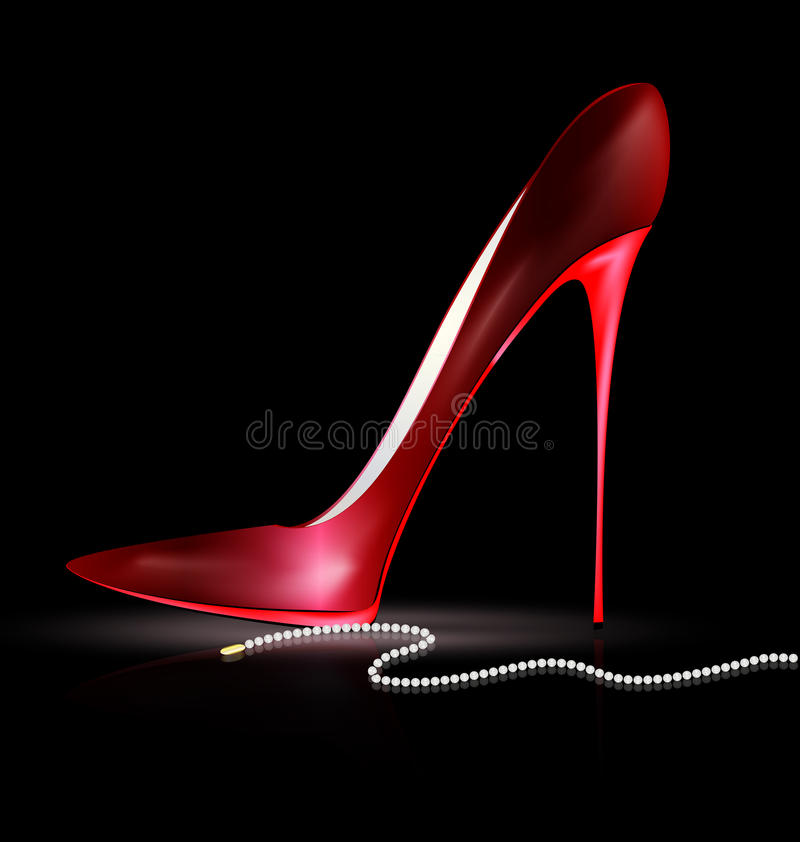 Red shoe and beads. Dark background and the red ladys shoe with beads stock illustration